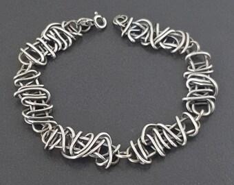 Sterling Silver Bracelet, link bracelet, chain bracelet, woven metal, sterling, sterling silver, silver bracelet, oxidized,