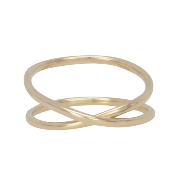 Solid Gold Infinity Ring, 14K Recycled Gold Hand Forged Ring, Unique, Sea Babe Jewelry