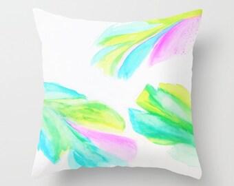 Banana Leaf Pillow Cover, Neon Watercolor Pillow, White Green Throw Pillow, Fresh, Spring, Bright Decorative, Patio,Outdoor,Tropical,Beach