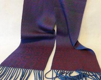 Handwoven Tencel Scarf, Tencel Scarf, Woven Scarf, Handwoven Scarf, Echo Weave Peacock Scarf, Peacock - #17-12B