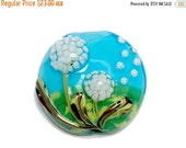 ON SALE 45% OFF New! 11838902 Dandelion Wishes Lentil Focal Bead - Handmade Glass Lampwork Bead