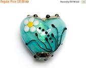 ON SALE 50% OFF New! Handmade Glass Lampwork Bead - 11838605 Seafoam Florals Heart