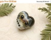 ON SALE 40% OFF Ravens Stardust Heart Focal Bead - Handmade Glass Lampwork Bead 11832605