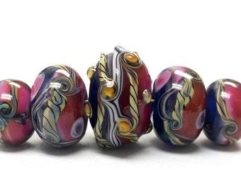 ON SALE 45% OFF Handmade Glass  Lampwork Beads - Five Graduated Pink/Purple Rondelle Beads 10108011
