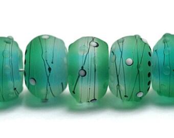 NEW! Handmade Glass Lampwork Bead Set - 10508801 Seven Emerald City Rondelle Beads