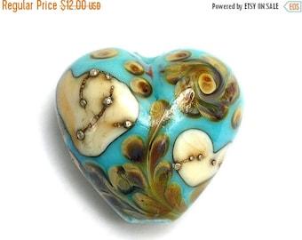 ON SALE 40% OFF Turquoise, Ivory & Beige Heart Focal Bead - Handmade Glass Lampwork Bead 11811805