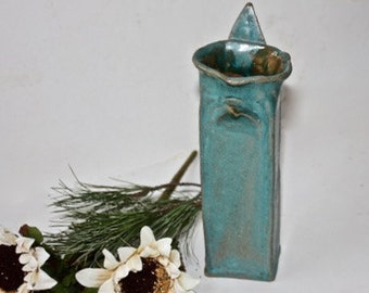 Art Pottery Vase Woodland Style Hand Built, Sculptural, Mat Turquoise Glazed Stoneware for Flower Arranging