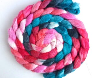 Merino/ Superwash Merino/ Silk Roving (Top) - Handpainted Spinning or Felting Fiber, Cool and Refreshing