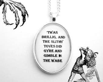 Jabberwocky Alice in Wonderland Pendant Necklace Lewis Carroll Black and White Poem Poetry