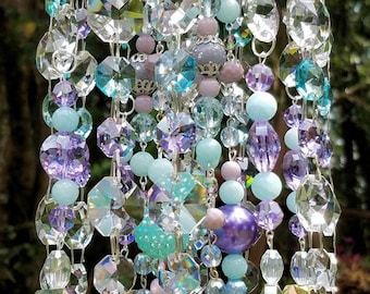 Antique Crystal Wind Chime, Lilac and Sky Blue Crystal Wind Chime, Crystal Sun Catcher, Garden Decoration, Window Decor, Cottage Chic Chimes