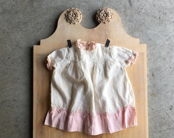 Antique Feldman Brothers Handmade Baby Dress, Fel Bros, Fine Linen, Pintucks, Look Vintage Infant Dress, 1930s, Sweet White Dress, Pink Girl