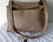 Reserved for J Real Purses thick buttery genuine leather in earthy beige frame bag, bucket bag, hobo,  satchel vintage MINT