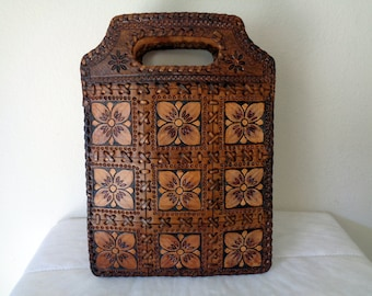 Handmade genuine thick leather tote,satchel hand tooled floral ,lacing accents vintage MINT  condition