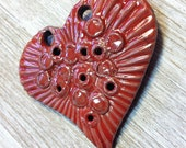 188. My Heart Burns for You Heavy Textured Porcelain  Raku Red Heart Pendant