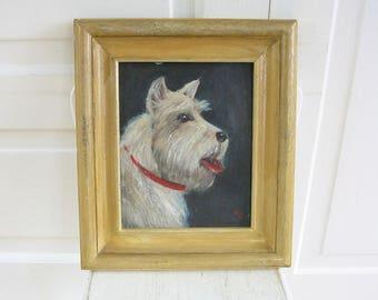 Vintage Dog Painting, Vintage Painting, Vintage Portrait, Vintage Terrier Painting, Terrier Art, Scottie Dog Painting, Black White Painting