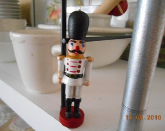 Vintage Wooden Soldier Christmas Ornament