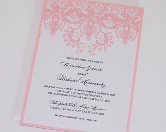 Damask Wedding Invitation | Elegant Wedding Invitation | Floral Wedding Invitation | Vintage Invitation | Pink and White | Christina Sample