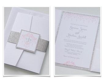 Gemma Glitter Wedding Invitation, White, Silver Glitter, Blush Pink, Elegant Wedding Invitation - Wedding Stationery - Handcrafted - Sample
