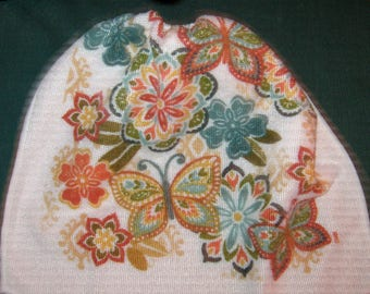 Crochet Kitchen Hanging Towels, Flowers and butterflies, white top