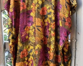 One Size Funky Caftan with Fringey Flowers/ Gorgeous Multi Print Caftan/ Full Length Size 6X Plus Caftan/ Sheerfab Funwear