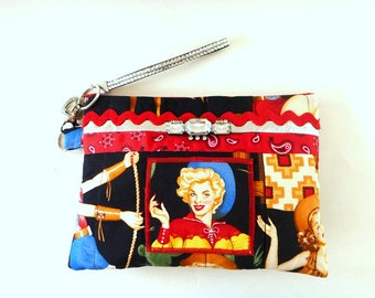 Rockabilly pinup clutch, evening bag, western clutch, cowgirl pinup clutch, rockabilly wedding, bridesmaid gift, makeup bag, western wedding