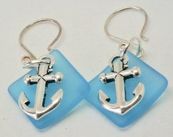 Robin Egg Blue Earrings, Nautical Earrings, Silver Anchor Earrings, Casual Fun Earrings, Summer Beach Jewelry, Turquoise Sea Glass Earrings