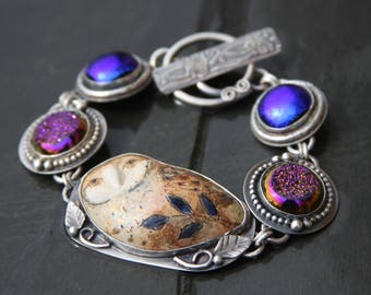 RESERVED oOo porcelain owl, titanium druzy, dichroic glass, and sterling silver metalwork link bracelet