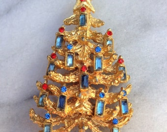 Vintage Christmas Tree Brooch with Blue Cut Glass and Rhinestones