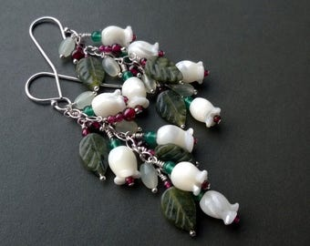 Lilly of the valley earrings - sterling silver and gemstones