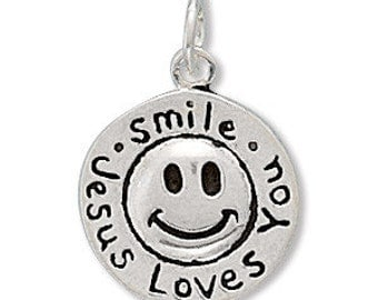 """Round """"Smile Jesus Loves You"""" Sterling Silver Charm, Christian, Religious, Gift, Keepsake, Jewelry, Accessory, Necklace Pendant, Bracelet"""