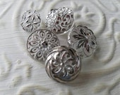 Vintage Buttons - 5 assorted, novelty designs cut glass silver hand painted Depression glass (lot feb 313 17)