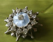 Vintage Button - 1 beautiful  unique flower design rhinestone embellished, with past blue stones antique silver finish metal (feb530 17)