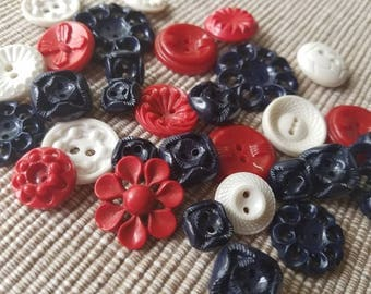 Vintage Buttons - Cottage chic mix of red, white and navy  blue lot of 29 old and sweet( may 21 17)