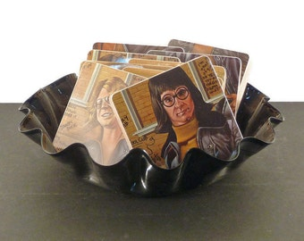 Brownsville Station recycled School Punks music album handmade wood coasters with record bowl