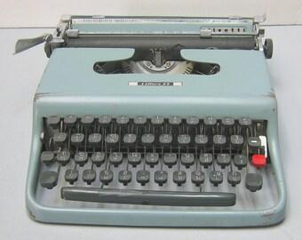 Sale Thai Script 1955 Blue Olivetti Lettera 22 Portable Typewriter with Case