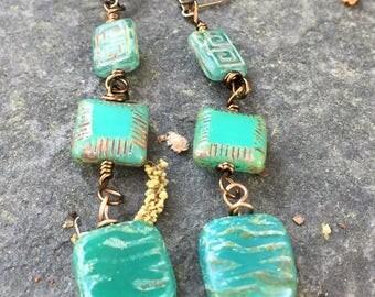Turquoise Green Greek Key Czech Glass Dangle Earrings \\ Square Beaded Earrings \\ product id: GKCG317