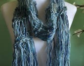 Hand Knit Ladies Fashion Accessory Scarf Blue with Shimmer