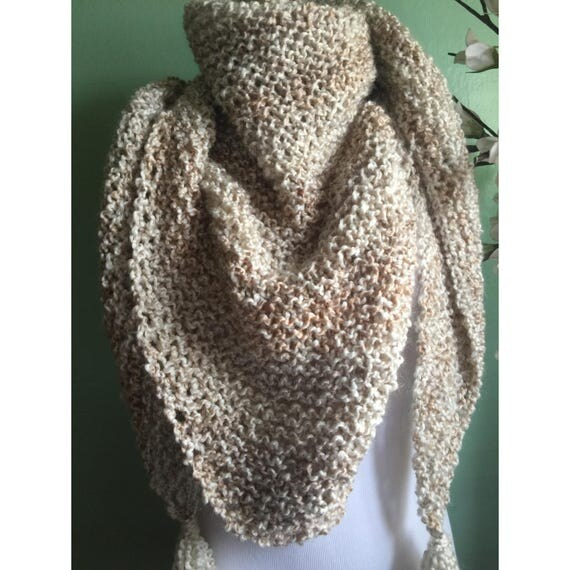 Outlander Inspired Hand Knit Claire's Shawl Wrap in Cream Wheat Color