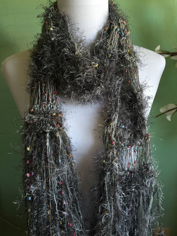 Hand Knit Ladies Fashion Accessory Scarf With Shimmer Grey and Ribbon Scarf
