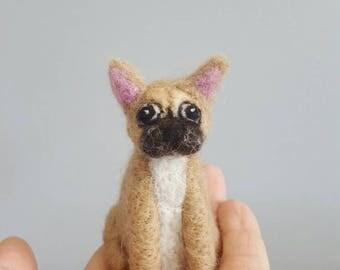French bulldog ornament, Custom dog ornament, Dog memorial, Miniature dog, Needle felted dog, Dog lover gift