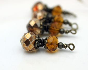 Copper Crystal Rondelle and Golden Crystal Rondelle Beaded Dangle Charm Drop Pendant, Earring Dangle