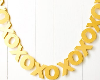 Gold XOXO Banner- Hugs and Kisses Garland- Valentines Bunting- Love Garland - Anniversary Garland -Bridal Shower - Wedding Decor - Photo Pro