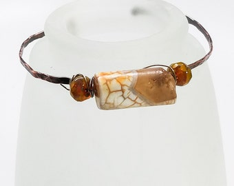 Hammered Copper Bracelet - Crackled Fire Agate and Czech Rustic Lemon Faceted Rondelle Beads