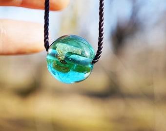 Minimalist Necklace // Aqua // Simple Necklace // Glass Bead Necklace