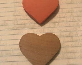 "Wooden hearts, 2"" wide and 1/2"" thick"