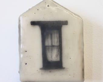 Cottage Window - Original Encaustic Photograph on Wood Block