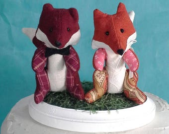 Fox wedding cake topper, woodland wedding animal toppers E150