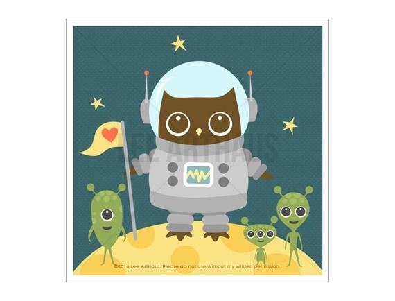 75A Baby Boy Nursery Decor - Owl and Aliens Wall Art - Owl Art - Owl Print - Space Theme Nursery - Woodland Nursery Decor - Art for Children