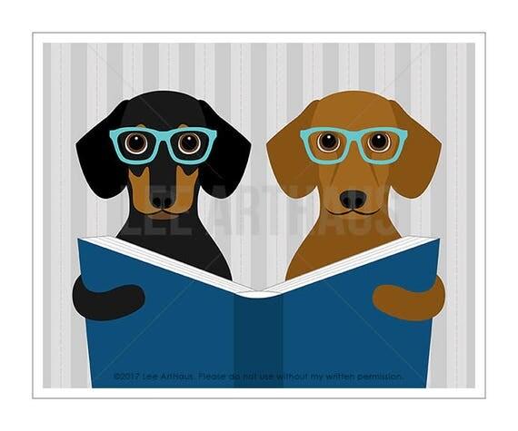 313D - Dachshund Print - Two Dachshund Dogs Reading Book Wall Art - Dachshund Lover Gift - Dog Lover Art - Puppy Wall Art - Doxie Prints