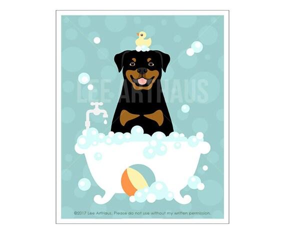 218D Rottweiler Art Print - Rottweiler in Bubble Bath Wall Art - Rottweiler Print - Bath Decor - Bathroom Wall Art -  - Rottweiler Drawing